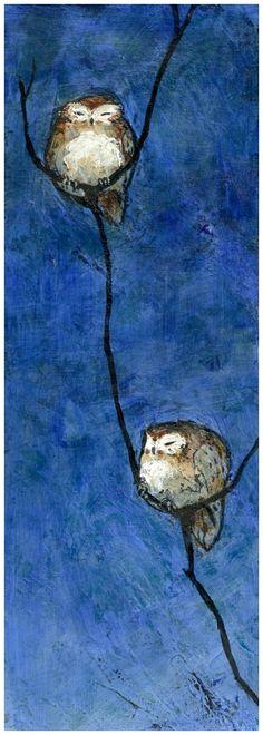 Sleepy Owls by ^FionaCreates, Acrylic on Canvas. #owl  #Baja_Blue