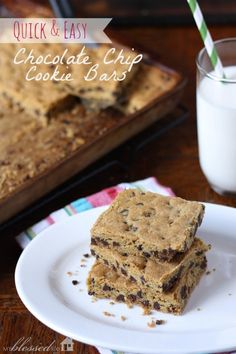 Chocolate Chip Bar Cookie | MyBlessedLife.net