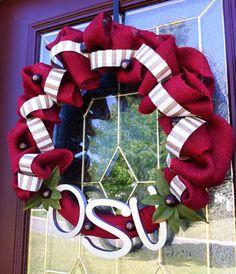 Scarlet & Stripe Burlap Ohio State Wreath 22 by TheCraftyChicShoppe, $54.99