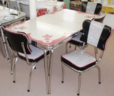 Restored Vintage Red Gray Inlaid Formica Dinette Table w/ Chairs [Gray Red Leaf Table 4 Chairs] - $950.00 : Classic Kitchens And More, Authentic Retro Kitchenware. <3 this one