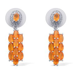 Liquidation Channel | Jalisco Fire Opal and Diamond Earrings in Platinum Overlay Sterling Silver (Nickel Free)