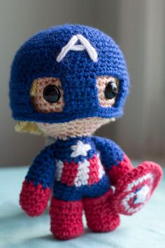 Captain America Avengers Amigurumi Plush Doll by PaperCuttlefish, $7.00 @Brandy Waterfall Waterfall Waterfall Perkins Could you do this?!!