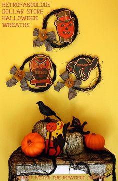 Retro Halloween wreaths - dollar store craft