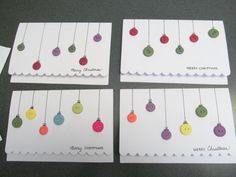 Set of 4 Button Ornament Christmas Cards
