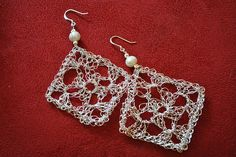 wire earrings, crochet granny squares, wire crochet, crochet necklace, squar earring, jewelry patterns, granni squar, crochet patterns, crochet earrings