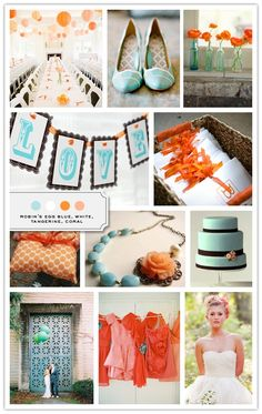 Gorgeous color palette! #wedding #party #paper #lanterns #shoes #flowers #invitations #pillow #ring #necklace #cake #dresses #bride #groom #blue #white #tangerine #orange #coral