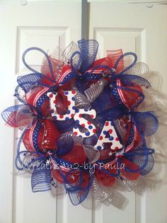 Summer mesh wreath/ July 4th/ Memorial Day wreath