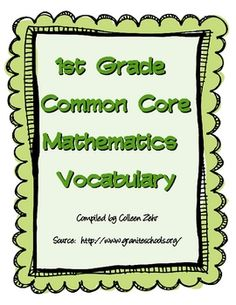 $1 These are vocabulary word cards for the first grade Common Core Math Standards.  These may be printed front to back for vocabulary cards or fronts ...