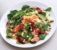 Spinach Salad With Salmon, Barley and Oranges   Get the recipe: http://www.realsimple.com/food-recipes/browse-all-recipes/spinach-salad-with-salmon-barley-and-oranges-00000000051140/index.html