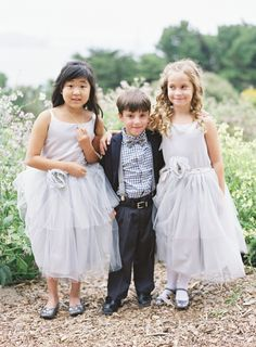 flower girls and ring bearer in blue - Jen Huang - http://ruffledblog.com/san-francisco-ballroom-wedding/