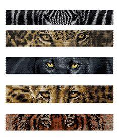 Beaded Zebra, Jaguar, Black Panther, Cheetah, Tiger Eyes Peyote Bracelets Pattern by Lynn Cassels-Caldwell at Bead-Patterns.com!