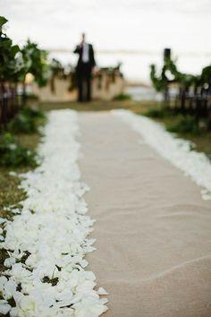 burlap wedding aisle runners | Burlap and rose petal aisle runner.