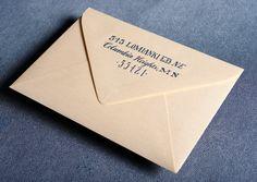 Ladyfingers Letterpress, gold envelope with navy hand drawn return address letterpress printed. Featured in Brides magazine