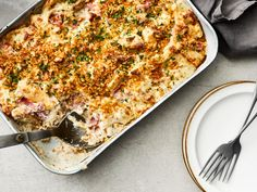 This creamy, crowd-pleasing casserole delivers generously on cheesy, savory flavor—but requires a fraction of the fuss of classic chicken cordon bleu. The key to this chicken cordon bleu casserole's incredible, bubbly richness is the stovetop cheese sauce made with Swiss and Gruyère. (If you have trouble finding Gruyère, simply substitute the same amount of Swiss.) Additionally, toasting the breadcrumb topping on the stovetop will keep them exceptionally crispy during baking; so while it may see