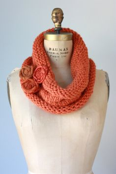 Pumpkin Orange Chunky Knit Cowl with Fabric Flower Brooch