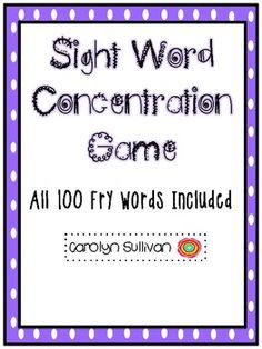 Sight Word Concentration Game - All 100 Fry Words!