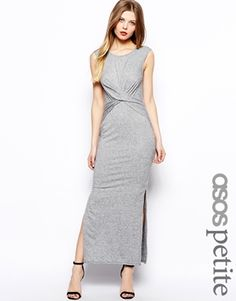 Image 1 of ASOS PETITE Exclusive Maxi Dress With Wrap Front in Nepi $48