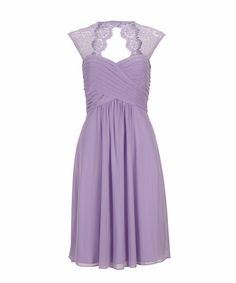Lace Shoulder Chiffon Dress, Lilac - from Rickis