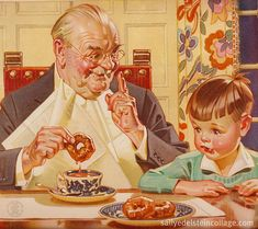 Vintage coffee ad 1940...oh look, Grandpa has come to visit!