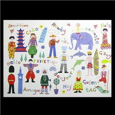 Hello, world! Featuring a variety of characters from around the world, this wall art will get kids thinking globally. | Shop Hobby Lobby