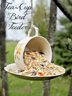 DIY Tea Cup & Saucer Bird Feeder :: what a cute idea!