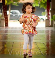 Toddler kaftan caftan kids top orange size 3T age by VividDress, $15.00