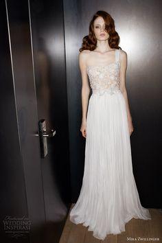 really special / mira zwillinger 2013 2014 bridal jade one shoulder draped wedding dress