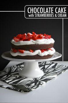 Chocolate Cake with Strawberries & Cream
