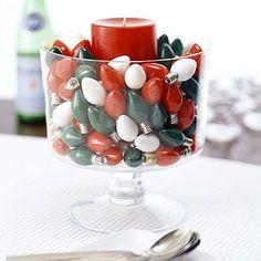 holiday, bowl, idea, christmas centerpieces, christmas decorations, bulb, christma decor, christmas lights, christmas candles