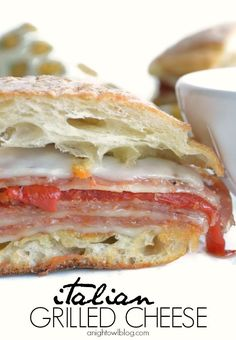 Italian Grilled Cheese Sandwich. Roasted red peppers, mozzarella, salami, ciabatta bread...layer upon layer of italian goodness.