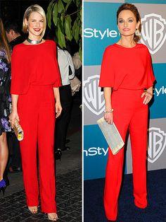 Ali vs. Giada. I love these lipstick red Valentino jumpsuits!  (Team Giada)