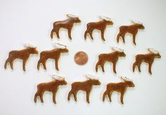 10 Moose tiles special glaze on horns that pops by mosaicmonkey, $5.25