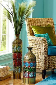These add the perfect pop of color and flair to the look i'm going for my patio! #Pier1Outdoors #sponsored  Take a closer look at the handcrafted details in our Mosaic Collage Floor Vases.