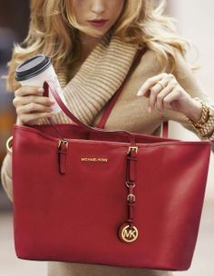Michael Kors Jet Set Tote ★★★ $70$ Multifunction Saffiano Travel Red Black Friday,OMG!