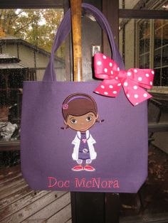 birthday parti, gift, person toddler, doc mcstuffins tote bag, toddler tote, doc bag, 6th birthday, doc mcstuffins school, tote bags