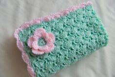 crochet flower baby blanket | Baby girl blanket - Crochet baby blanket Mint/Pink Flower Shells ...