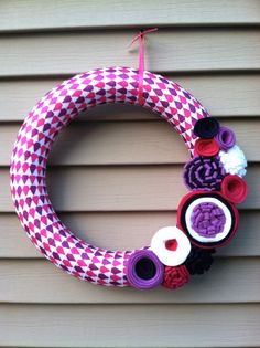 Valentine's Day Wreath  Magenta Purples & White by stringnthings, $42.00