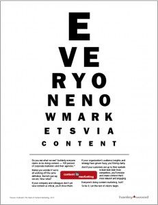 The content marketing vision test from our friends at Hanley Wood Marketing!