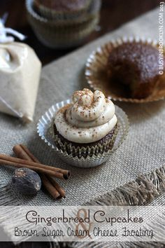 Gingerbread Cupcakes with Brown Sugar Cream Cheese Frosting » Busy in Brooklyn