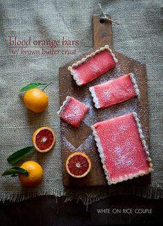 blood orange bars w/ brown butter crust lemon bars, butter crust, orang lemon, orang bar, food, brown butter, bar recipes, blood orange, crusts