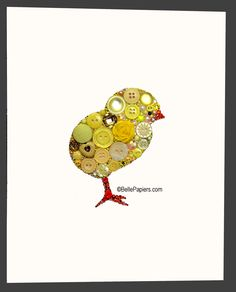Button Art Baby Chick Kitchen Ideas #kitchen #buttons #easter #button #art