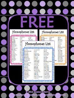 FREE Homophones List Poster: Includes 69 homophones sets in three colors (Orange, Pink, Blue)