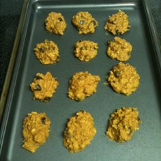 Yummy healthy cookies! 1c rolled oats, 1c canned pumpkin, 1 scoop vanilla whey protein, 1c natural peanut butter, 1c liquid egg whites, Stevia to taste, 1 tsp baking powder, 1 tsp cinnamon, 1 tsp pumpkin spice, 1/4c flaxseed, 1c dark choc chips. Mix all together and drop tablespoons on non stick pan. Bake at 350 for 10 mins or until golden brown!