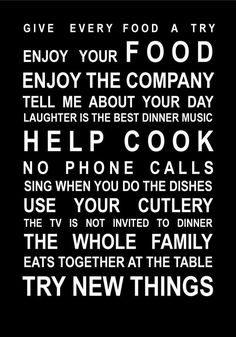 Teaching table manners - would be great hung up in the kitchen