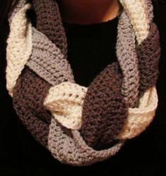 crochet scarf, multi color, scarv, color braid
