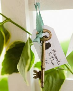 These escort cards were tied to old keys that were discarded from a building