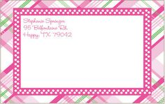 Huge Pink Plaid Shipping Labels