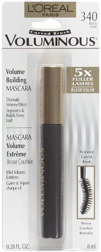 L'oreal Voluminous Mascara Custom Curved Brush, Black, 0.28-Fluid Ounce - L'oreal Voluminous Mascara Custom Curved Brush, Black, 0.28-Fluid Ounce  List Price: $7.50   Uniquely formulated to resist clumping, soften lashes, and build lashes to four times their natural thickness Thickens lashes evenly and smoothly No flakes, smudges, or clumps Made in Paris    List Price: $7.50 Your Price: $1.49-   Voluminous curved brush volume building mascara is uniquely formulated