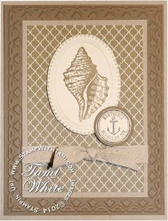 Stampin up By the Tide Seashell monochromatic card. Details on the blog. Design by Tammy Johnson