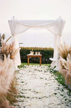 Outdoor Ceremony Lined with Tall Grasses (Pampas Grass?)    See more on SMP: http://www.StyleMePretty.com/little-black-book-blog/2014/02/03/outdoor-jewish-wedding-at-bel-air-bay-club/ Elisabeth Millay Photography